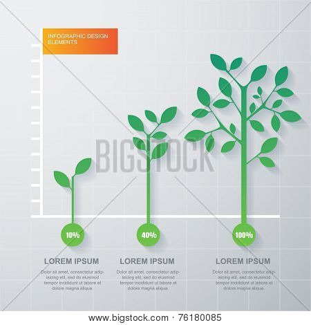Green Tree And Plant Diagram Infographics Template. Vector Illustration. Business Development And Gr