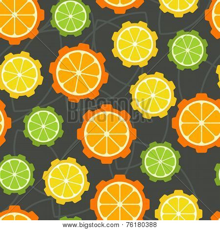 Colorful Citrus Cogs Seamless Pattern. Vector Abstract Background