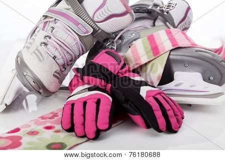 Figure Skates, Scarf And Gloves
