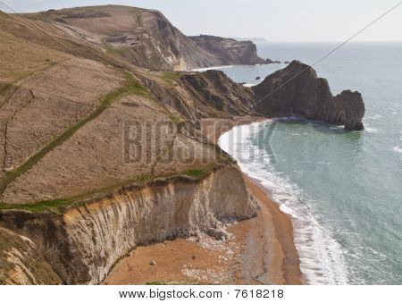Dorset Coastline Looking Down On Durdle Door