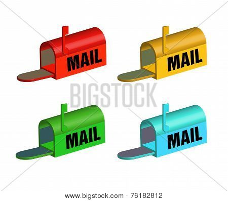 Set of four mailboxes