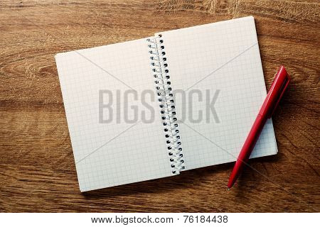 Open Square Ruled Notebook And Pen