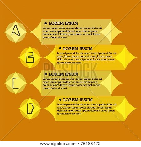 Flat infographic template with letters A, B, C, D