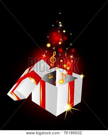 Beautiful Gift Box With Musical Notes On A Glowing Background