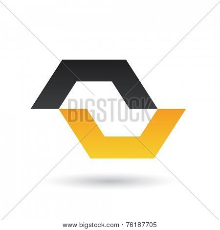 Black and Yellow Abstract Icon Illustration isolated on a white background