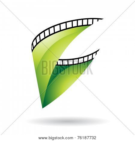 Green Glossy Film Reel Isolated on a white background