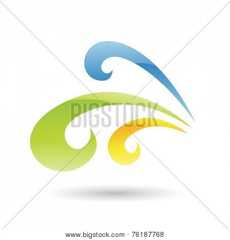 Yellow, Green and Blue Abstract Icon Illustration isolated on a white background