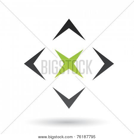 Green and Black Abstract Icon Illustration isolated on a white background