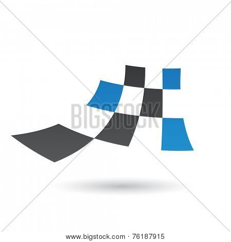 Black and Blue Abstract Icon Illustration isolated on a white background