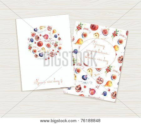 Two cute greeting cards. Bright watercolor illustration with fruit.