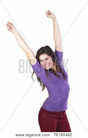 Brunette woman happily celebrated her victory isolated on white