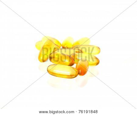 Fish Oil Soft Gel Capsule On White Background