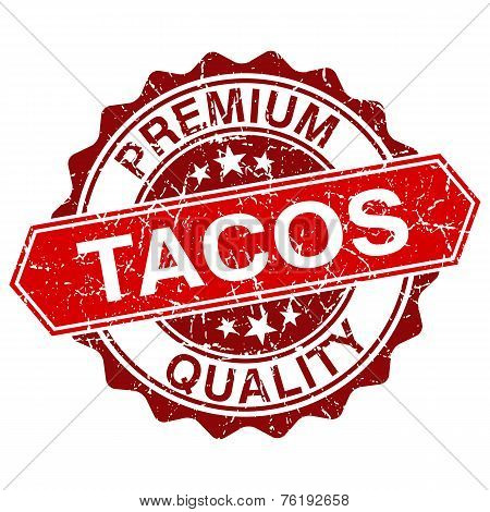 Tacos Red Vintage Stamp Isolated On White Background
