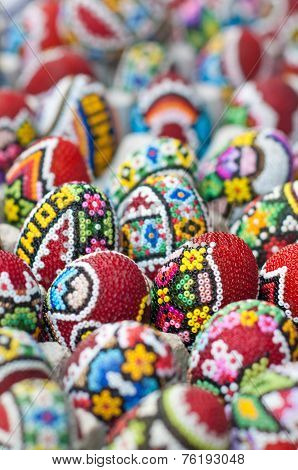 Traditional Romanian Easter eggs, close up