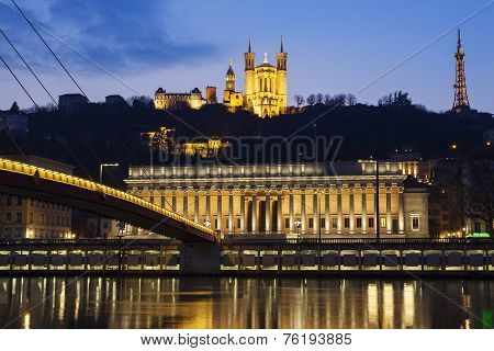 Famous View Of Saone River At Lyon By Night