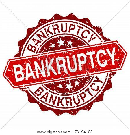 Bankruptcy Red Vintage Stamp Isolated On White Background