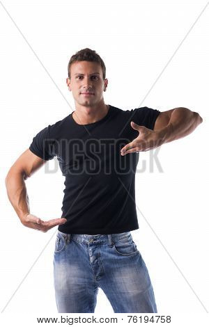 Muscular Man In Unique Open Hands Pose