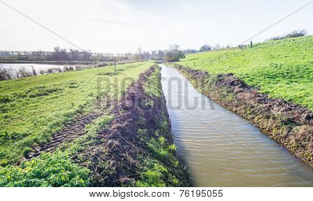 Dutch Landscape With A Dike And A Ditch