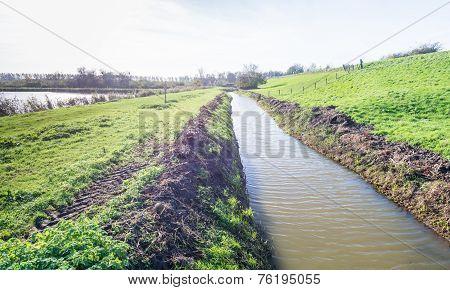 Dutch Landscape With A Dike And A Ditch