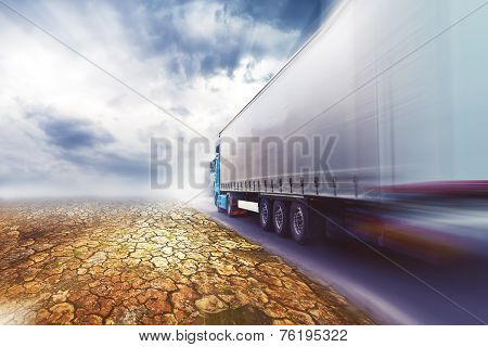 Speeding Truck On Desert Road
