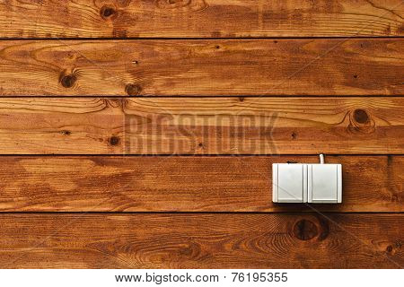Ac Power Socket On Wooden Wall