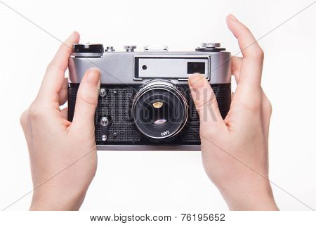 Hand Pressing The Shutter In The Classic Camera