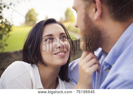 Beautiful Hipster Couple In Love On A Date Outdoors In Park Having Fun. Bearded Redhair Man. Brunett