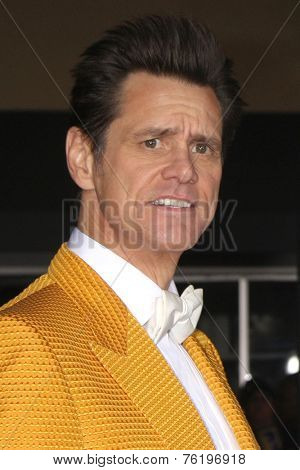 LOS ANGELES - NOV 3:  Jim Carrey at the Dumb and Dumber To Premiere at the Village Theater on November 3, 2014 in Los Angeles, CA