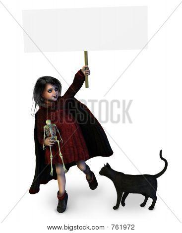 Goth menina segurando cartaz em branco