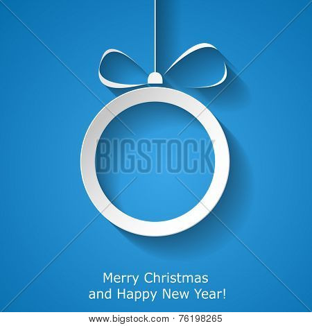 Xmas greeting card with abstract paper Christmas ball on red background. Vector eps10 illustration