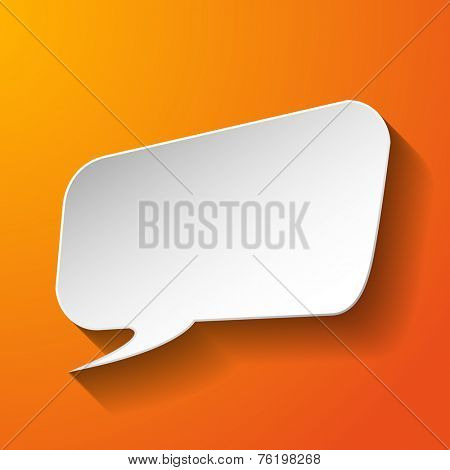 Abstract paper speech bubble on orange background. Vector eps10 illustration