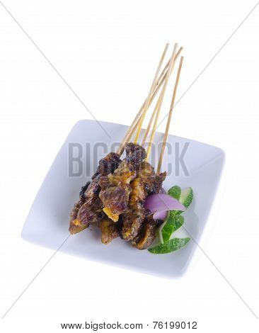 Satay. Asian Cuisine - Satay On Background
