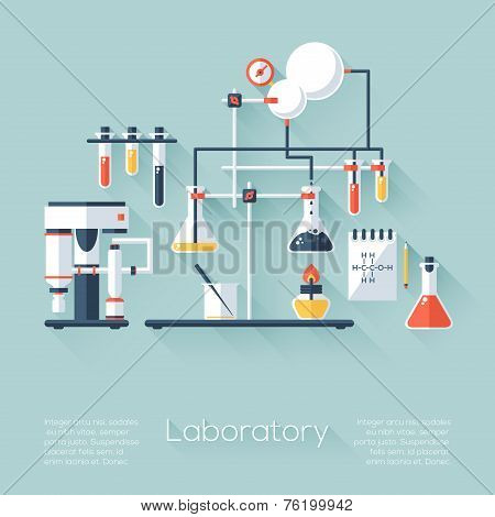 Chemistry Education Research Laboratory Equipment. Flat Style With Long Shadows. Modern Trendy Desig