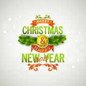image of merry chrismas  - Merry Christmas and Happy New Year 2015 celebrations with stylish text - JPG