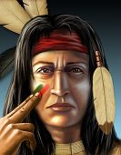 foto of american indian  - American indian warrior painting his face - JPG