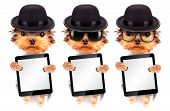 image of mafia  - Dog dressed as mafia gangster holding blank tablet pc - JPG