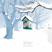 picture of woodpecker  - Hand drawn vector illustration of snow covered landscape with cute painted birdhouse - JPG