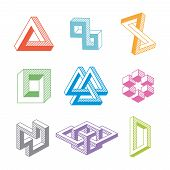 picture of impossible  - Colorful impossible geometric isolated shapes - JPG