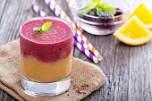 picture of smoothies  - Two layered smoothie with peach - JPG