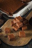 picture of chocolate fudge  - Homemade Dark Chocolate Fudge Ready to Eat - JPG