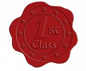 picture of first class  - First Class Red Wax Seal with Stars - JPG
