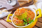 picture of marrow  - stuffed marrow with tomato sauce in the bowl - JPG