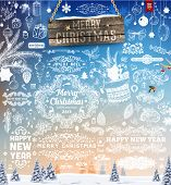 image of snow owl  - Hand Drawn Christmas And New Year Decoration Set Of Calligraphic And Typographic Designs - JPG