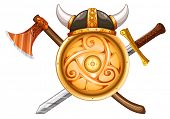 picture of crossed swords  - Coat of arms with shield and swords - JPG