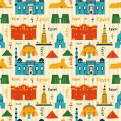 image of ankh  - Landmarks of Egypt vector colorful seamless pattern in flat style - JPG