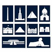 picture of ankh  - Landmarks of Egypt vector simple flat  rectangular icons set - JPG