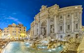 pic of fountains  - Trevi Fountain the largest Baroque fountain in the city and one of the most famous fountains in the world located in Rome Italy - JPG