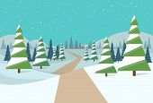 stock photo of snow forest  - winter forest landscape christmas background - JPG