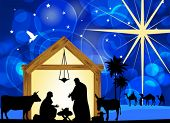 stock photo of nativity scene  - Nativity scene with holy family - JPG