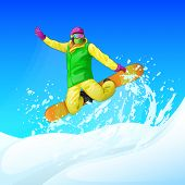 Постер, плакат: Snowboarder sliding down the hill man snowboarding snow